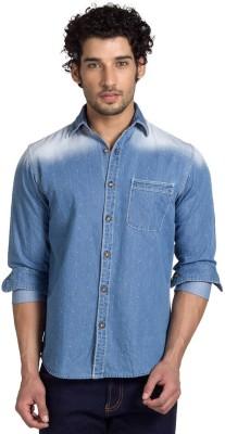 Club Fox Men,s Solid Casual Light Blue Shirt