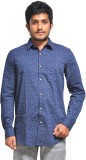 Red Cotton Men's Polka Print Casual Blue...