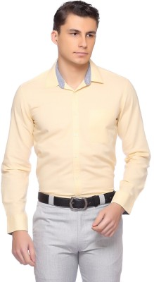 Laven Men's Solid Formal Yellow Shirt