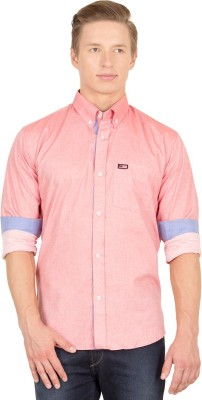 Union Street Men's Solid Casual Pink Shirt