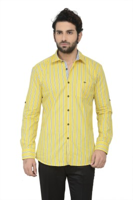 Swathe Men's Striped Casual Yellow Shirt