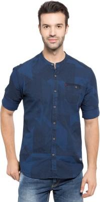 Status Quo Men,s Printed Casual Dark Blue Shirt