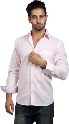 S9 Men's Solid, Woven, Printed Casual, Party, Festive Pink, Maroon, White Shirt