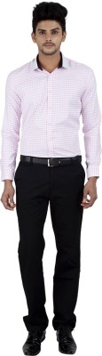 Independence Men's Checkered Formal Pink Shirt