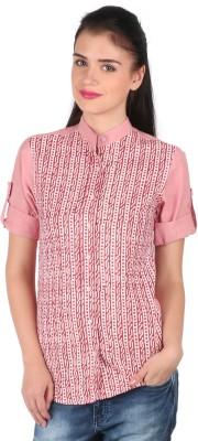 Mahikrite Women's Printed Casual Pink Shirt