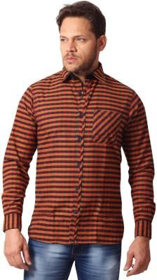 YOO Men's Checkered Casual Maroon Shirt