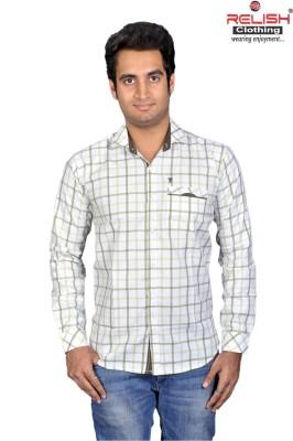 Relish Men's Checkered Casual White Shirt