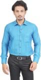 Success Men's Solid Formal Linen Blue Sh...