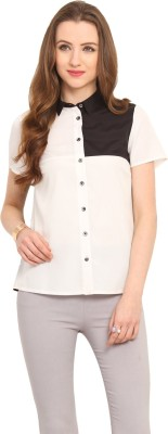 Pryma Donna Women's Solid Casual White Shirt