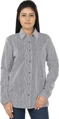 Chic Fashion Women's Striped Formal White, Black Shirt