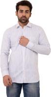 Lime Time Formal Shirts (Men's) - Lime Time Men's Striped Formal White Shirt