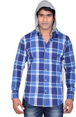 LUCfashion Men's Checkered Casual Blue, Grey Shirt