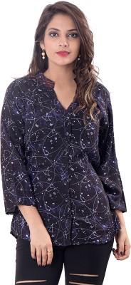 Simplona beau Women's Printed Casual Black Shirt