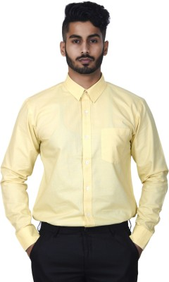 Defossile Men's Solid Casual Yellow Shirt