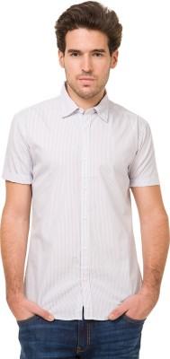 Mode Manor Men's Striped Casual Grey Shirt