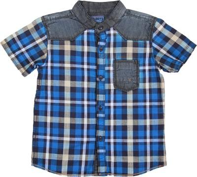 Ice Boys Boy's Checkered Casual Blue, Yellow Shirt