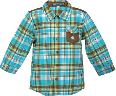 Lil Poppets Boy's Checkered Casual Blue, Brown Shirt