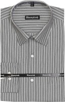 Boonplush Formal Shirts (Men's) - Boonplush Men's Striped Formal Grey Shirt