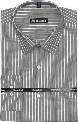 Boonplush Men's Striped Formal Grey Shirt