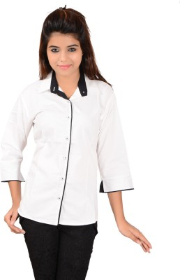 Jazzy Ben Women,s Solid Casual White, Black Shirt