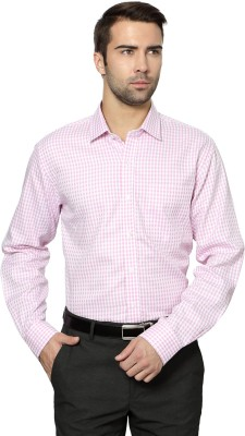 University of Oxford Men's Checkered Casual Pink Shirt