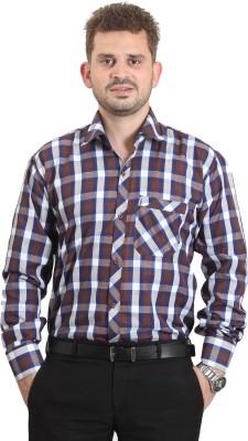 The Standard Men's Checkered Formal Brown Shirt