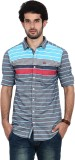 FRD13 Men's Striped Casual Blue Shirt