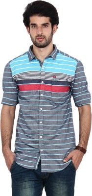 FRD13 Men's Striped Casual Blue Shirt