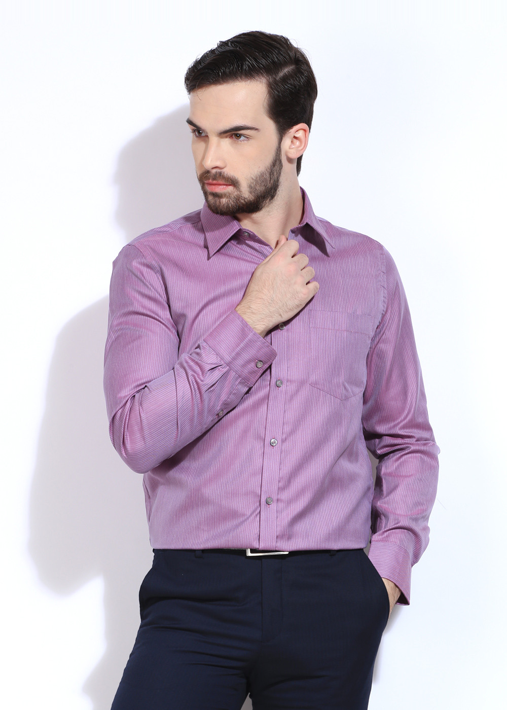 London Bridge Men's Striped Formal Purple Shirt