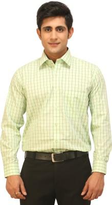 Seven Days Men's Checkered Formal Light Green Shirt