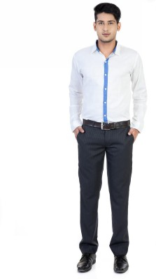 Monk Collection Men's Solid Casual White Shirt