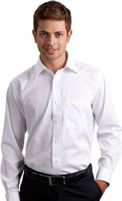 La Polo Men's Solid Formal White Shirt