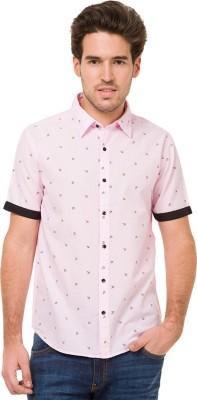 Mode Manor Men's Printed Casual Pink Shirt