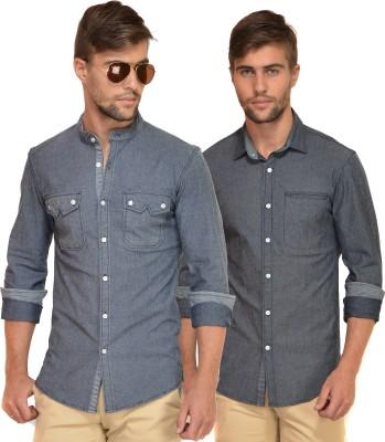 Chalk Factory Men's Solid Casual Denim Grey Shirt
