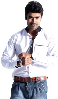 S9 Men's Solid Casual White, Black Shirt