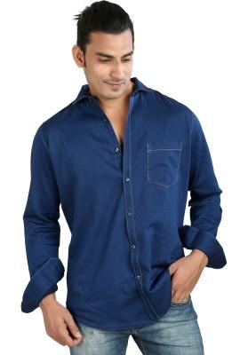 Faceman Men's Solid Casual Dark Blue Shirt