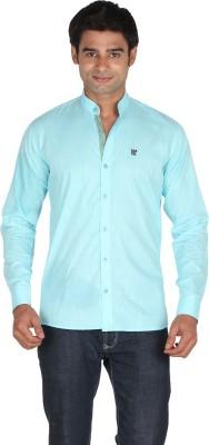 Qpark Men's Solid Casual Linen Light Green Shirt