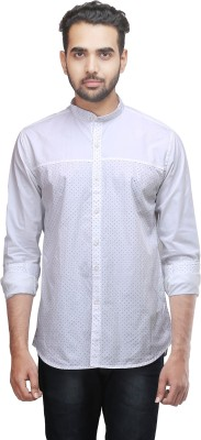 Mehta Men's Printed Casual White Shirt