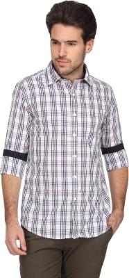 Denimlab Men's Checkered Casual White, Green Shirt