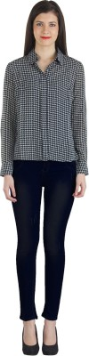 Fashionholic Women's Houndstooth Casual Black Shirt
