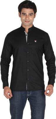 Qpark Men's Solid Casual Linen Black Shirt