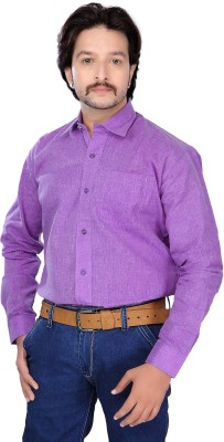 FebSense Men's Solid Casual Purple Shirt