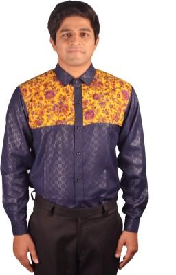 Riverbero Men's Self Design Casual Blue Shirt