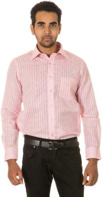 West Vogue Men's Striped Formal Pink Shirt