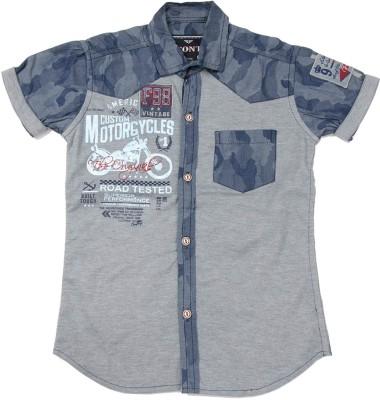 Font Kids Boy,s Solid Casual Blue Shirt