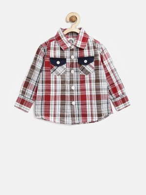 Yk Boy's Checkered Casual White Shirt