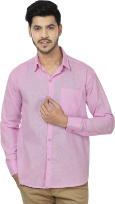Trewfin Men's Solid Casual Pink Shirt