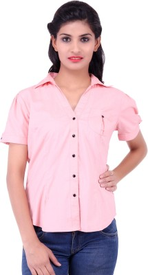 Fbbic Women's Solid Formal Pink Shirt