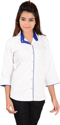 Jazzy Ben Women,s Solid Casual White, Blue Shirt
