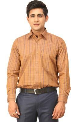 Seven Days Men's Checkered Formal Gold Shirt